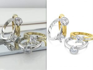 Before and after jewelry image retouching using a white background image