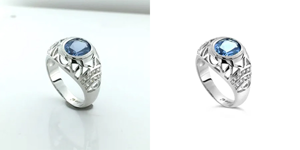 jewelry retouching service - before and after Gemlightbox