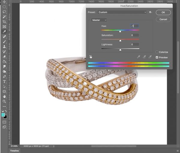 photo retouching using hue