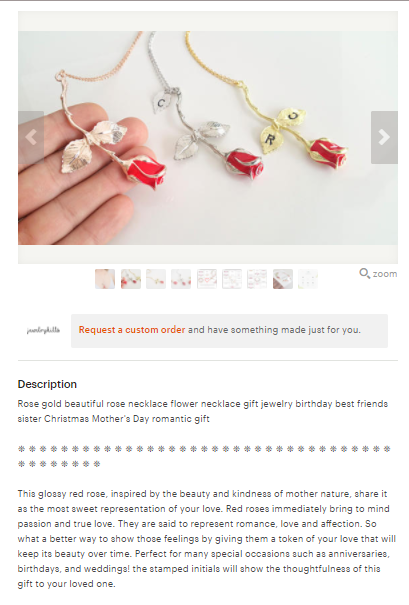 jewelry product descriptions for etsy