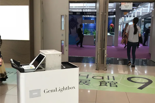 The GemLightbox cart ready to enter Hall 9 at the start of the AWE show