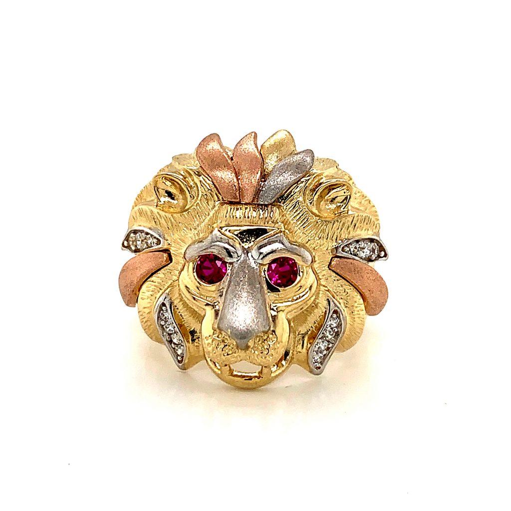 Tri-tone lion ring