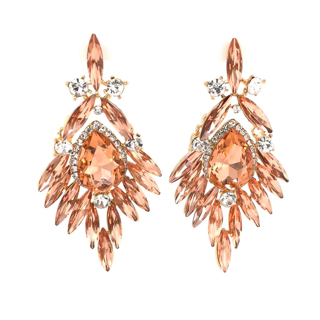 Feather cubic zirconia dangle earrings
