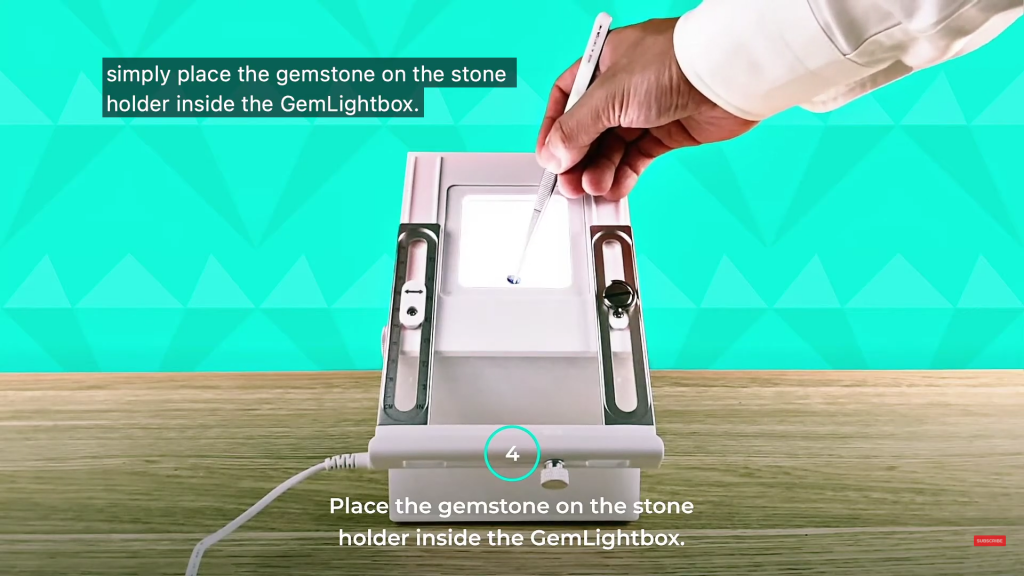 Place the gemstone inside