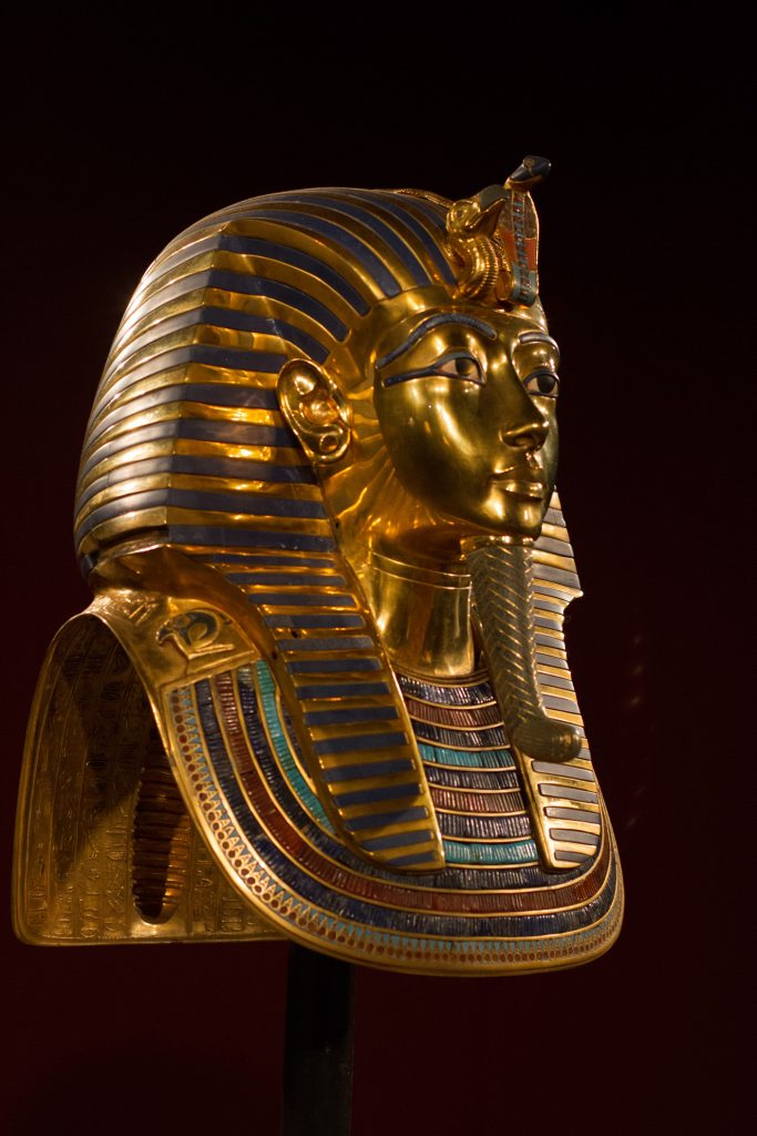 King Tut death mask with turquoise