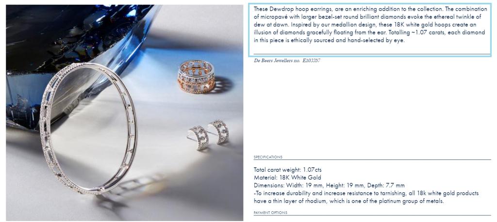 De Beers earrings product description